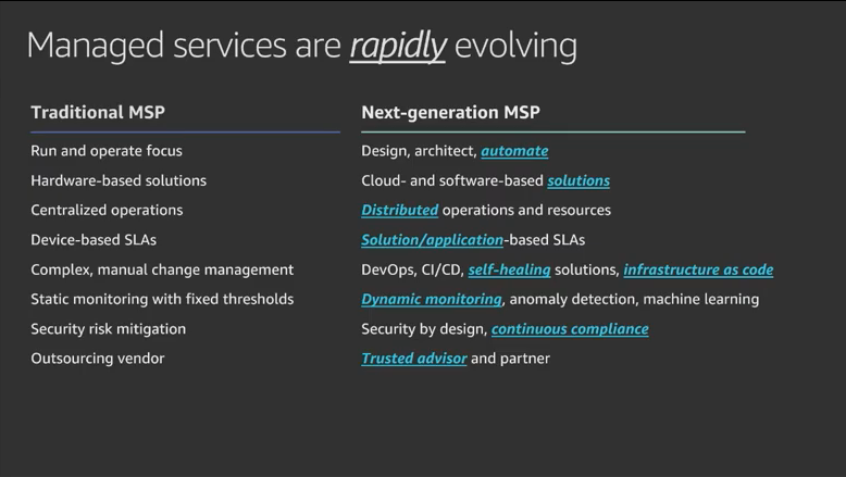 Slide from the Next Gen Managed Services Session